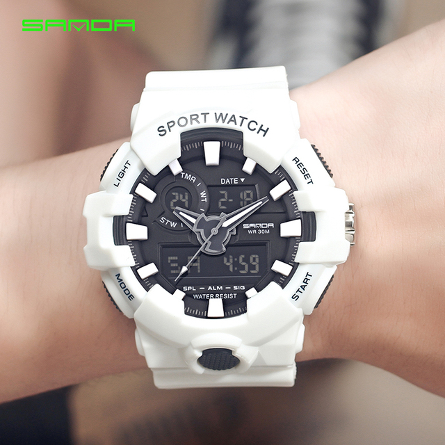 SANDA White Sports Men's Watches 30M Waterproof Military Led Digital Watches Shock Male Clock relojes hombre relogios masculino