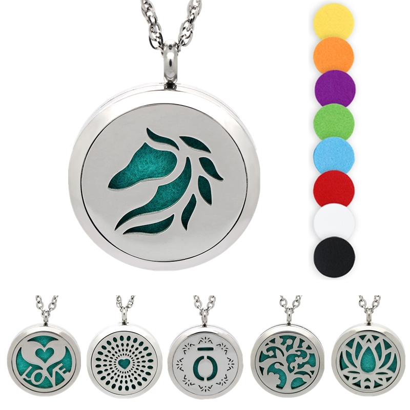 30mm Essential Oil Diffuser Necklace Horse Silver Aromatherapy Necklace Stainless Steel Locket Tree of Life pendant Jewelry