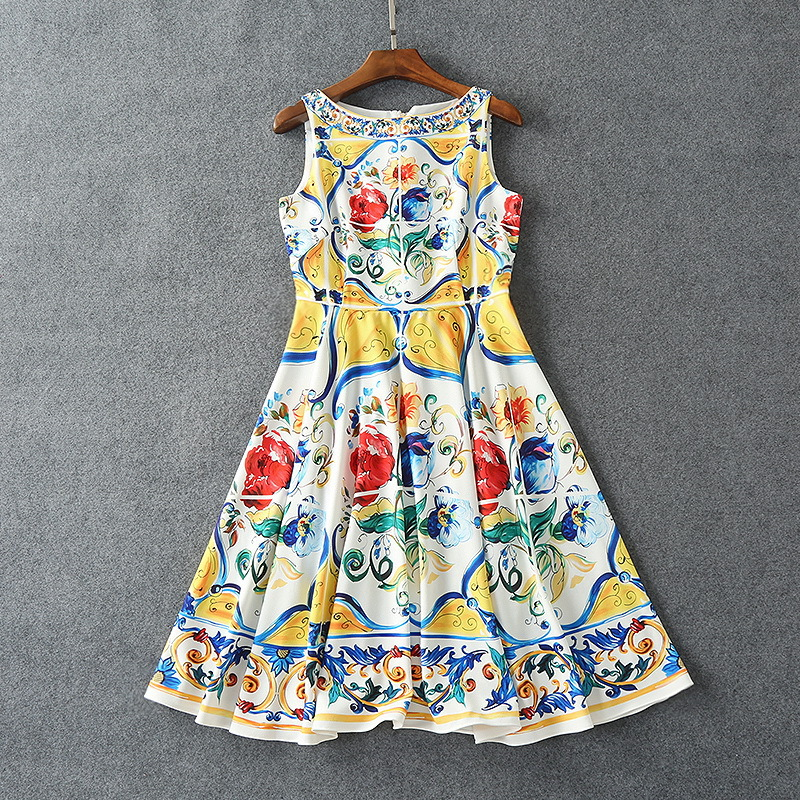States Honno 2017 夏のトーテムプリント古代の方法を復元ドレス