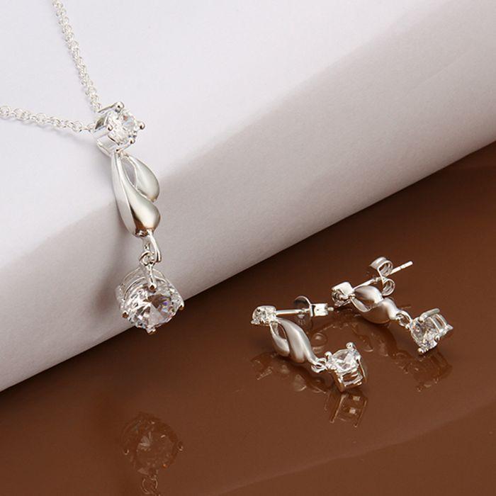 f7ca0110a2 Sets plateado Sets hermosa de moda de plata Sets embutió la venta al por  mayor cristalina de la joyería envío libre cmxi ls594