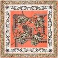 100 см * 100 см Шелковой Саржи Женщин 100% Шелковый Роскошный Leopard Цветок Цепи Печати Шелковый Шарф Femal Высокой качество Шаль 3104