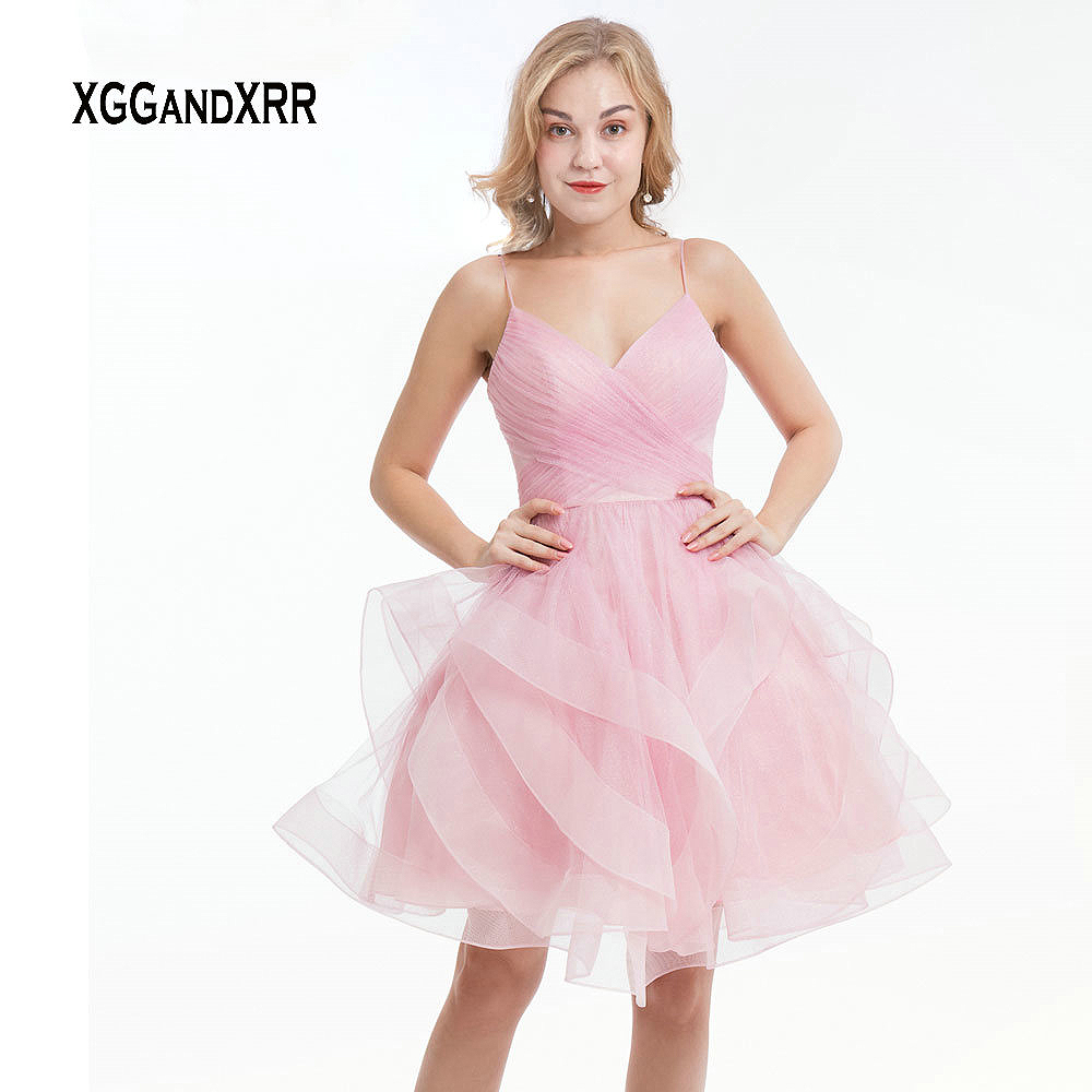 Belle rose courte robe de retour 2019 chérie Spaghetti Sexy dos nu volants plis Mini robe de bal filles robe de Graduation