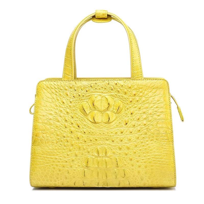 Classical Designer Genuine Crocodile Leather Female Medium Totes Alligator Skin Lemon Yellow Lady Purse Woman Top handle Handbag цена