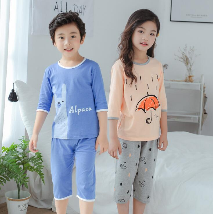 Boys Girls Pajamas 2019 Summer Long Sleeve Children's Clothing Sleepwear Cotton Poplin Pyjamas Sets For Kids 6 8 10 12 14 Years