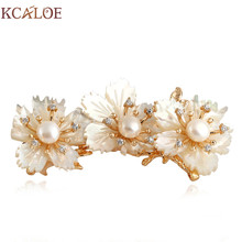 KCALOE Fashion Brooch Jewelry Crystal Rhinestone Wedding Natural Shell Pearl Big Flowers Pins And Brooches Christmas Gifts