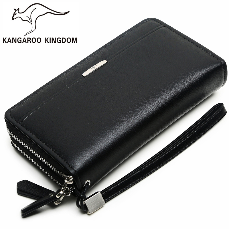Kangaroo Kingdom Famous Brand Men Clutch Bags Handbag Genuine Leather Bag Double Zipper Large Capacity Day Clutches