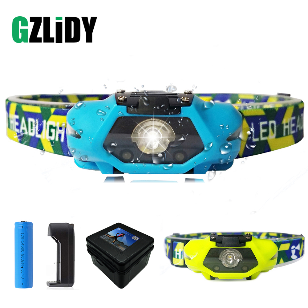 Anti-glare LED Headlamp Fishing Lamp 4 Lighting Modes Headlight White+red LED Powered By 14500 Batteries For Night Running,etc