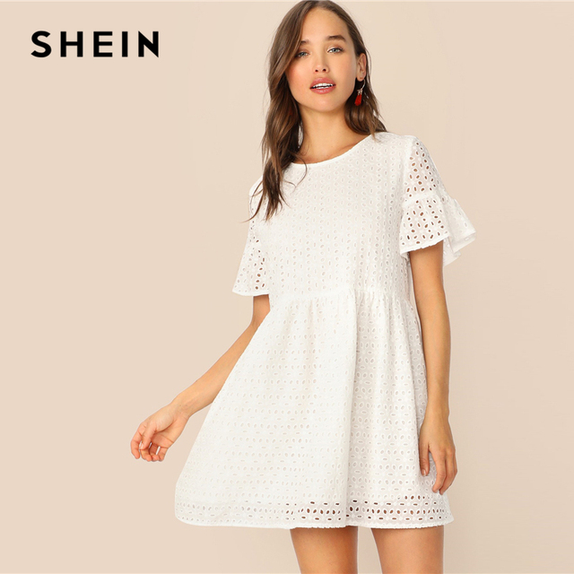 SHEIN Boho White Flounce Short Sleeve Solid Schiffy Straight Summer Lace Dress Women Elegant O-Neck Tunic Shift Cute Dresses 2