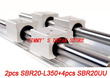 Free Shipping 2pcs SBR20 350mm Linear Bearing Rails 4pcs SBR20UU Bearing Locks CNC X Y Z