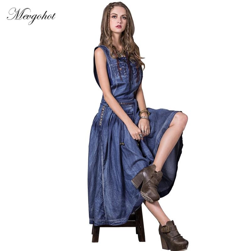 Woman Sexy Tassel Bohemian Denim Dress Summer Sleeveless Vintage Classic Long Jeans Dress Ancient Tank Robe Feeme Maxi HCH407
