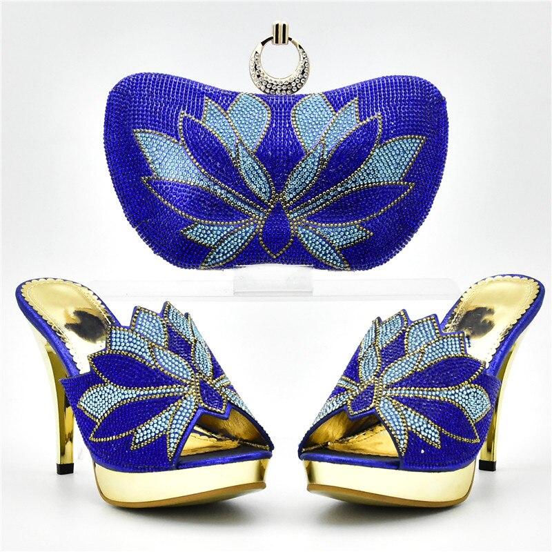 Strass fuchsia De Italiennes Femmes Assortir Sacs Dames Avec or Chaussures Les Et À Assortis Bleu pourpre Ensemble Décoré Nigérian Sac Mariage HvnvZx7Y6