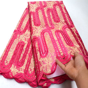 FolaSade 5 yards African french lace with stone Nigerian organza lace fabrics garment sewing cloth high quality Wo019