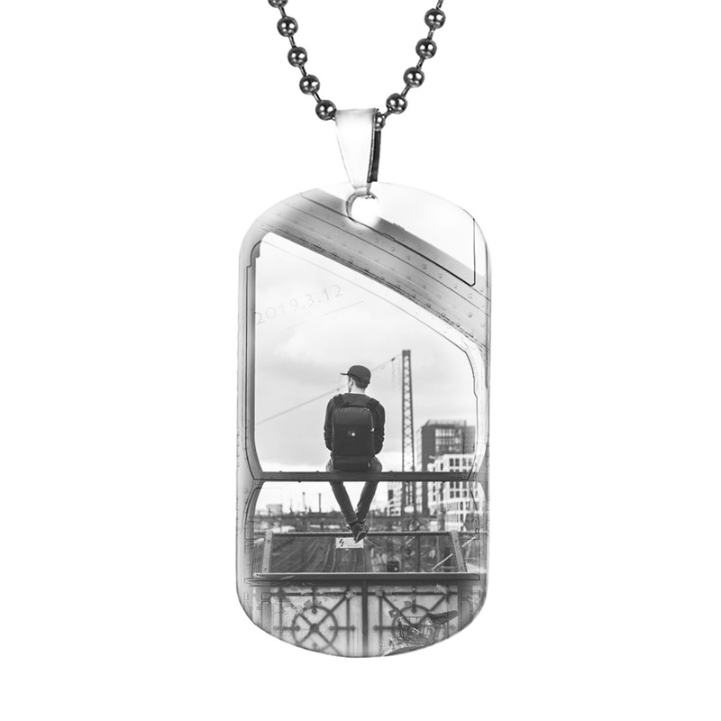 Personalized Titanium steel Dog Tag Men Necklace Custom Photo Name Text ID Pendant Army Nameplate Father Male Gift #S25 image