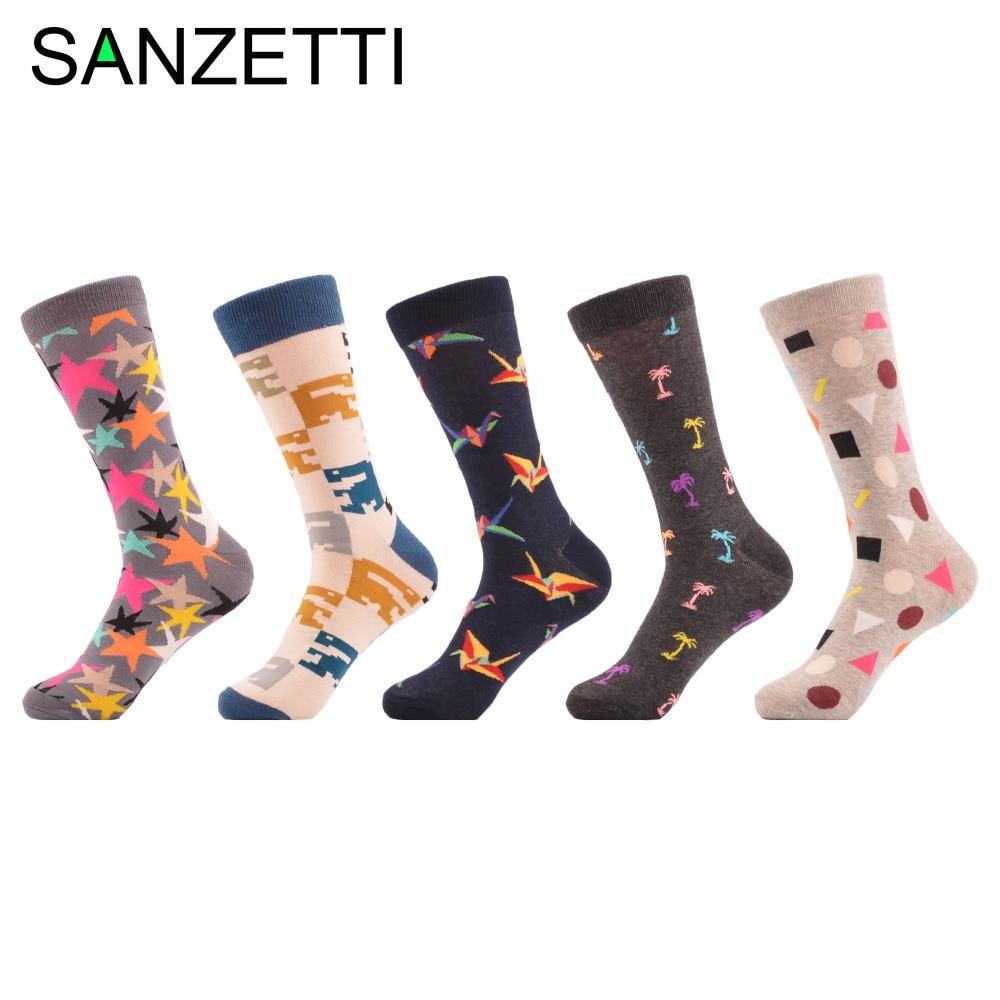 SANZETTI 5 pairs/lot Mens Combed Cotton Socks Funny Pattern Colorful Star Paper Cranes Casual Street Socks Skateboard Crew Sock