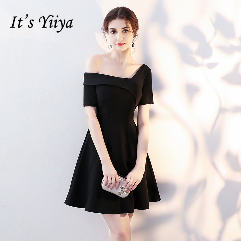 It's YiiYa Simple Little Black Short Sleeve One Shoulde Zipper   Cocktail     Dresses   Above Knee Length Formal   Dress   Party Gown LX418