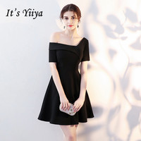 Hot Deals It s YiiYa Simple Little Black Short Sleeve One Shoulde Zipper Cocktail  Dresses Above Knee Length Formal Dress Party Gown LX418 757e8f2b9dba