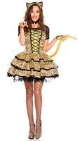 MOONIGHT Fantasias Halloween Costumes For Women Short Sleeve Leopard Costume Set Deguisement Adults