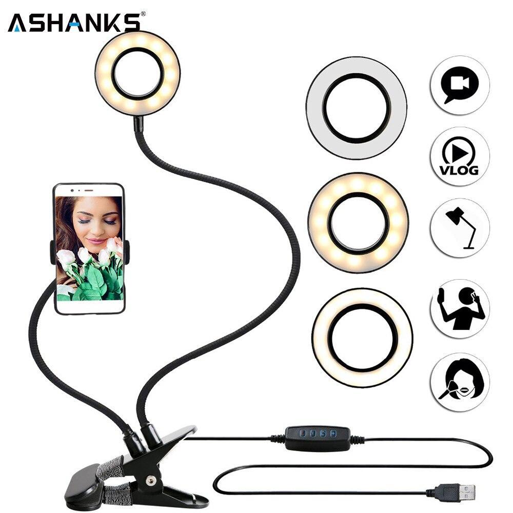 Foto Studio Selfie LED Ring Licht mit Handy Mobile Halter für Youtube Live-Stream Make-Up Kamera Lampe für iPhone android