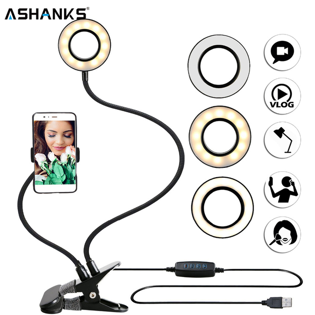 $ US $14.80 Photo Studio Selfie LED Ring Light with Cell Phone Mobile Holder for Youtube Live Stream Makeup Camera Lamp for iPhone Android