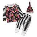 2016 цветок детская одежда девушки одежда набор с длинным рукавом футболка + брюки + шапки 3 шт. Детские bebe девушка одежда набор малышей ткань