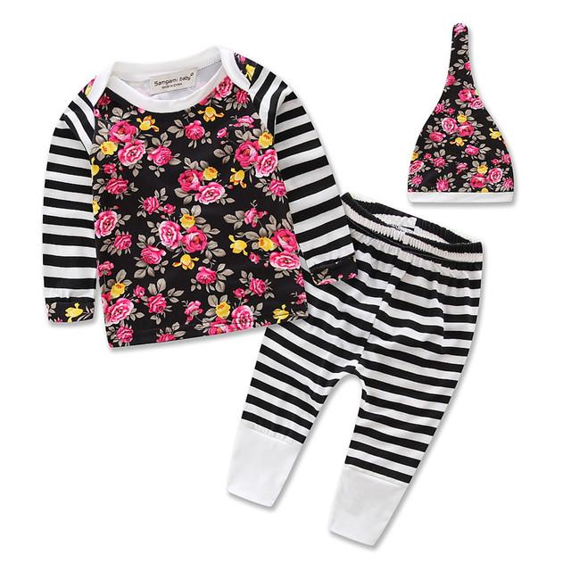 2016 flor roupas de bebê conjunto roupa da menina de manga comprida T-shirt + calça + caps 3 pcs Infantil bebe roupas de menina conjunto de pano criança