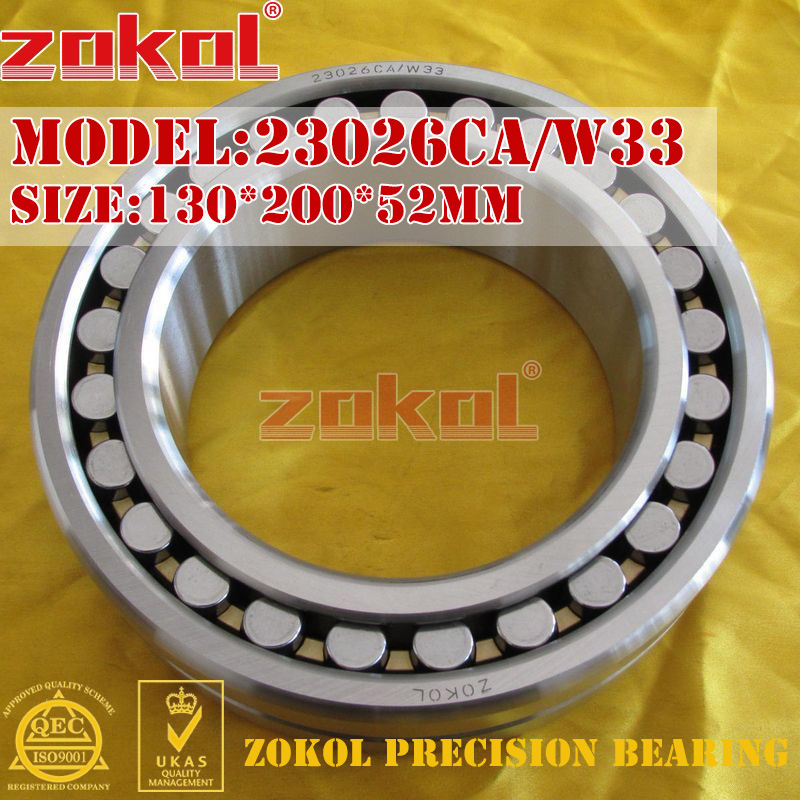 ZOKOL bearing 23026CA W33 Spherical Roller bearing 3053126HK self-aligning roller bearing 130*200*52mm mochu 22213 22213ca 22213ca w33 65x120x31 53513 53513hk spherical roller bearings self aligning cylindrical bore