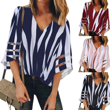 Women Batwing Sleeve Chiffon Blouse V Neck Loose Tops Summer Striped Blouses Shirts v neck batwing sleeve striped linen shirt