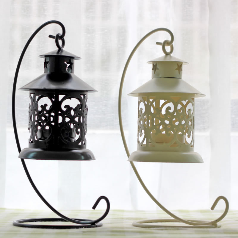 Vintage Metal European Candlestick Candle Lantern Holder Articles Hanging Lantern with Candle Stand Wedding Home Deco