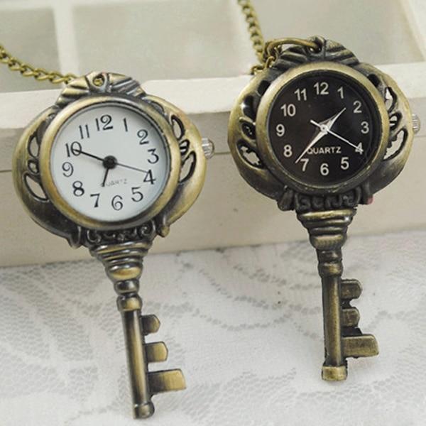 Retro Vintage Bronze Tone Quartz Key Shaped Pendant Pocket Watch Chain Necklace LXH