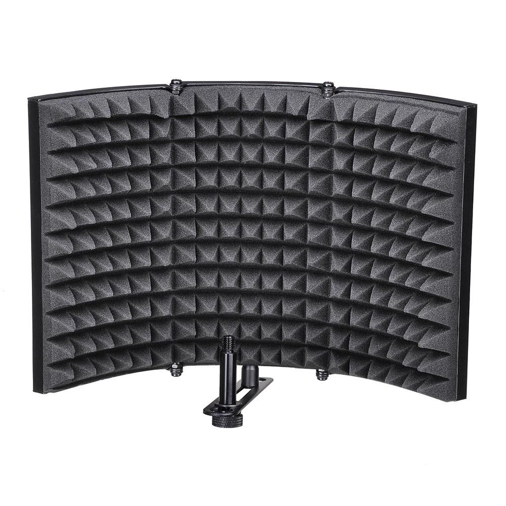 Folding Studio Microphone Isolation Shield Recording Sound Absorber Foam PanelFolding Studio Microphone Isolation Shield Recording Sound Absorber Foam Panel