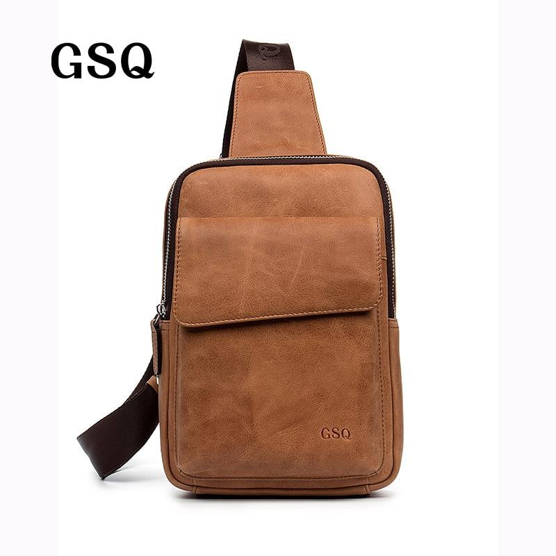 ФОТО GSQ New Arrival Genuine Leather Men Crossbody Bag Brand Designer Leather Messenger Bags Men Shoulder Bag Chest Bags