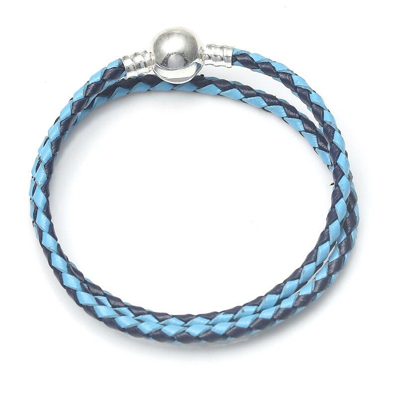 BAOPON, Прямая поставка, высокое качество, 9 цветов, кожаная цепочка, браслеты с подвесками, сделай сам, прекрасный браслет для женщин, девушек, ювелирное изделие, подарок - Окраска металла: Blue 4