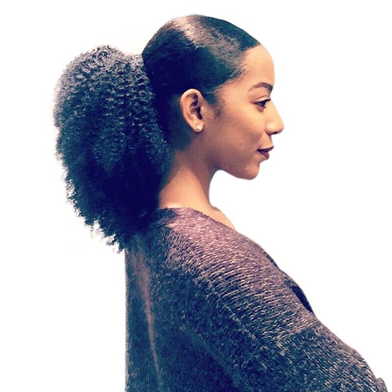 4B 4C Afro Crépus Bouclés Queues de Cheval Extensions Mongol Clip Dans Les Cheveux Humains Queues de Cheval Naturel Cheveux Miel Reine Produits pour Les Cheveux Remy
