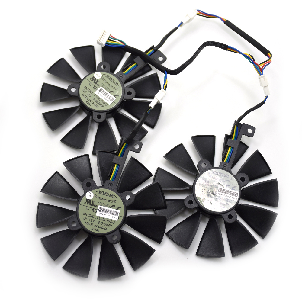 87MM T129215SU Cooling Fan For ASUS STRIX R9 390X/R9 390 RX580 8G Gaming GTX 1070TI GTX1080TI Gaming Graphics Card Cooler Fans 2pcs lot computer radiator cooler fans rx470 video card cooling fan for msi rx570 rx 470 gaming 8g gpu graphics card cooling