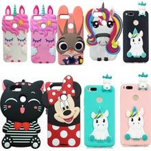 New Pretty Striped Lucky Cat Cases For Xiaomi 5X Mi A1 Cartoon Cute Unicorn 3D soft Silicone Rubber Phone Case Cover Skin