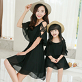 Cloak Strapless Dresses Matching Mother And Daughter Dresses Family Matching Clothes Mae Filha Plus Size Girls Red Chiffon Dress