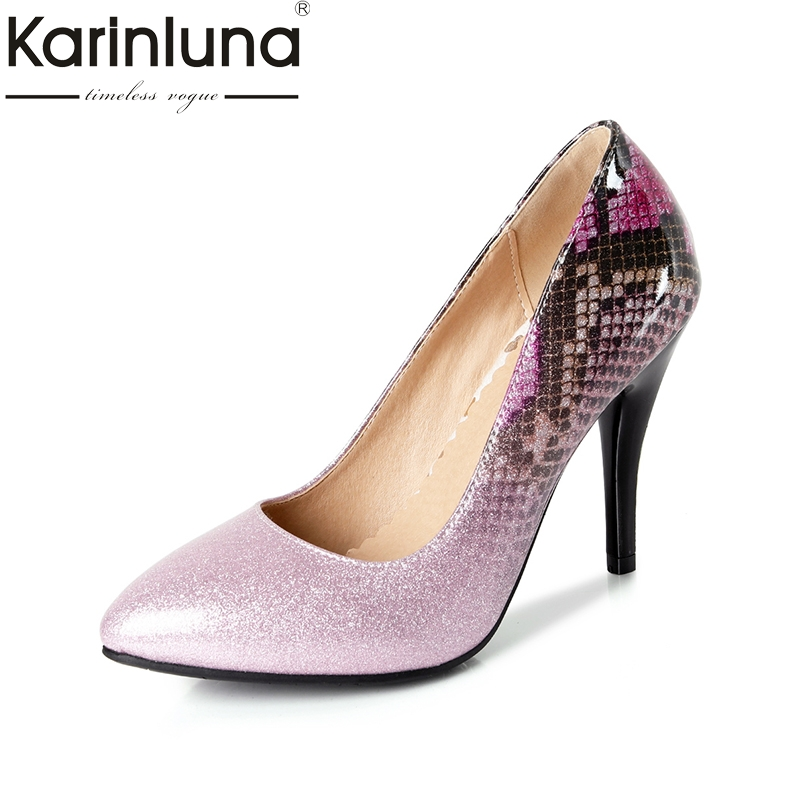 Karinluna 2018 Top Quality Big Size 32-44 Pointed Sneak Printing Spring Shoes Pumps Sexy Thin high-heels Party Women Shoes цена 2017