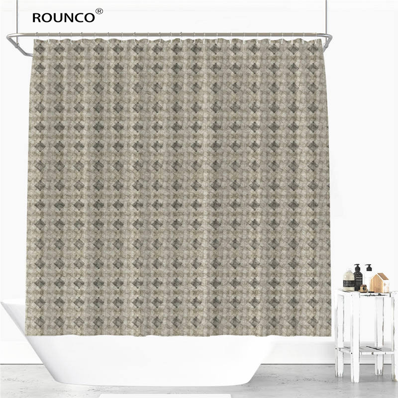 Colorful Striped Lattice Style Shower Curtain Polyester Fabric Bathroom Flexible Pull Waterproof