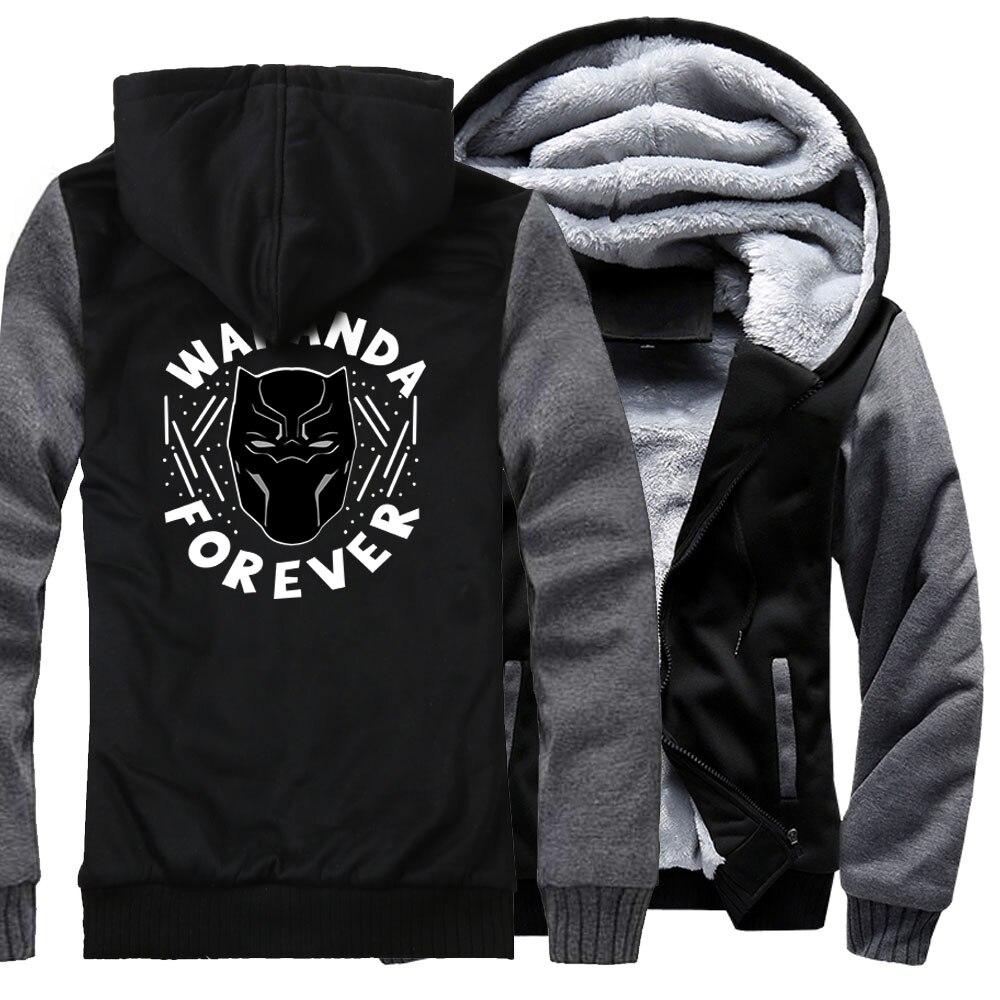 Black Panther Hoodies For Men Jackets 2018 Autumn Winter Fleece Coat Zipper Hoody WAKANDA FOREVER Streetwear Men's Sweatshirt