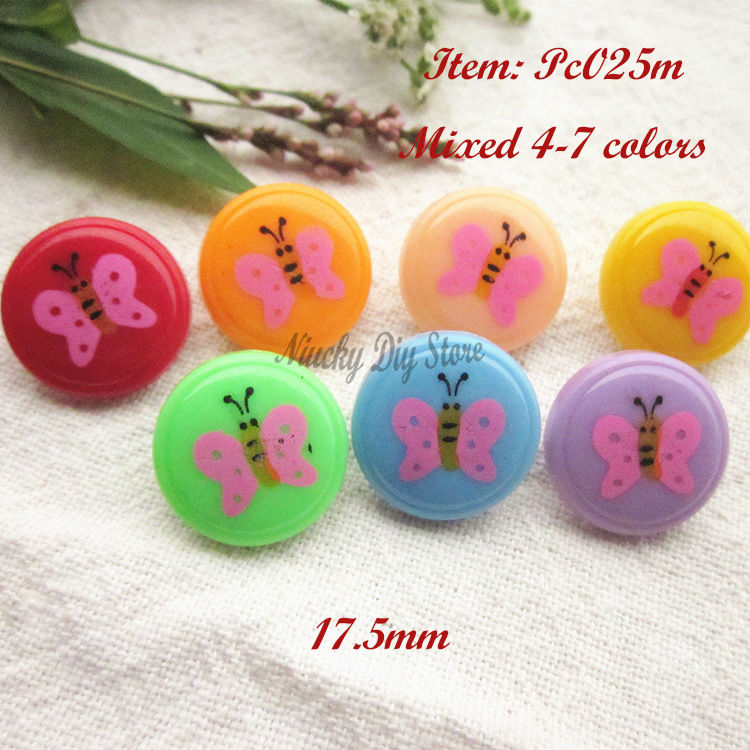 120pcs/lot Child buttons mixed color butterfly buttons for Diy and sewing supplies and accessories set wholesale