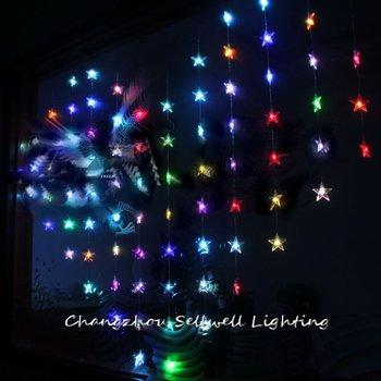 מלאכותי עץ חג המולד גדול! פסטיבל Showcase קישוט כניסה 78 Pcs צבעוני חמש מחודדת חרוז וילון מנורת H089