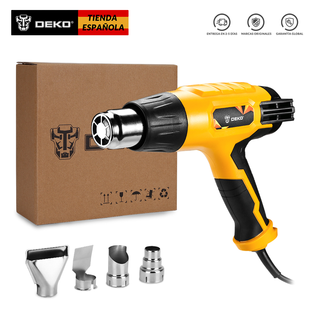 DEKO Original 220V Heat Gun 2000W Variable 3 Temperatures Advanced Electric Hot Air Gun with Four Nozzle Attachments