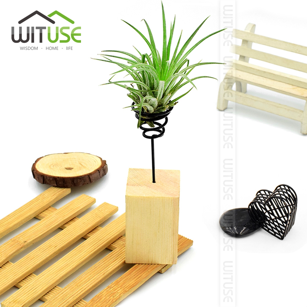 WITUSE Flash Deal! 6PCS Modern Air Plant Tillandsia Metal Wood Stand Holder Hotel Mall D ...