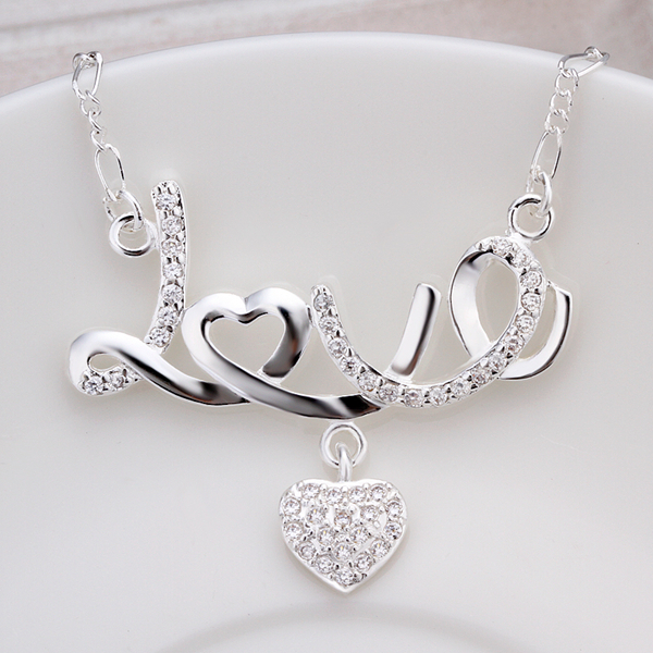 925 sterling silver jewelry choker fashion Women silver necklace exquisite crystal heart LOVE pendant necklaces link chain N309