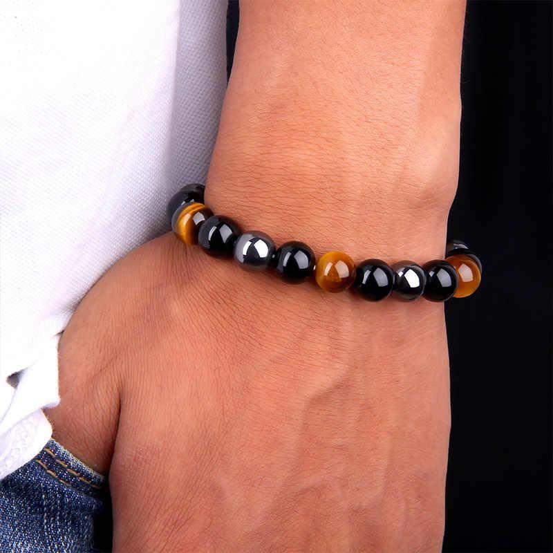 ธรรมชาติสีดำ Obsidian Hematite Tiger Eye สร้อยข้อมือลูกปัดผู้ชายสำหรับสุขภาพแม่เหล็กป้องกันผู้หญิงเครื่องประดับ Pulsera Hombre