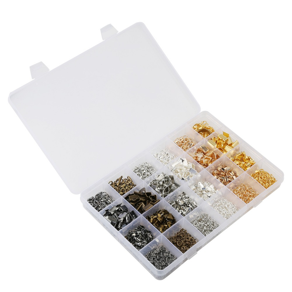 Mix Color Accessories Kit Box 24 Kinds Clip/Open Jump Ring/Lobster/Buckle DIY Jewelry Finding Link Component Tool Jewelry Making