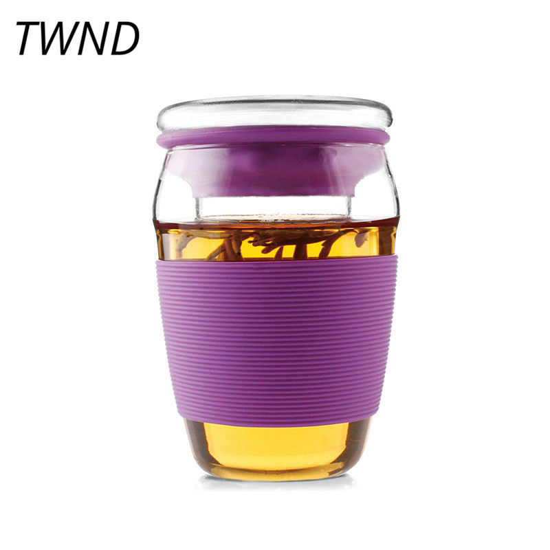 450CC heat resistant glass tea cup with filter cover creative tea water mug creative drinkware friend gift 9.5