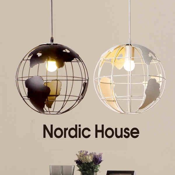 Globe Earth Iron Pendant Lamp Light Shade Black White