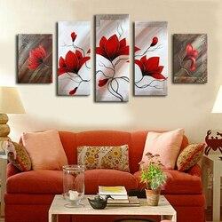 Kwiat grafika  czerwony wiosna tulipany kwiaty obraz 5 Panel ręcznie malowane kwiatowy sztuki współczesnej kwiat kwiatowe obrazy olejne na płótnie|canvas painting|modern canvas painting5 piece wall art -