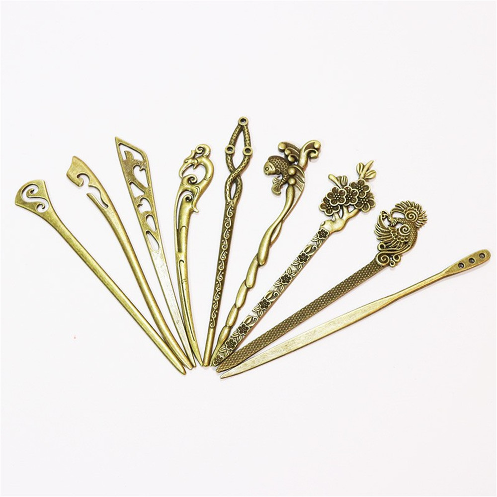 9 Styles Women's Vintage Hairpins Hair Clip Jewelry Accessories Zinc Alloy Ancient Bronze F Women Elegance Styling Accessory